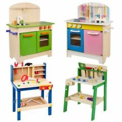 Kitchen Set Henckels Shears Kids Wooden Work Tool Bench Pretend Play Toys Cooking Image Is Loading