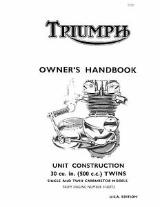Triumph Owners Manual Book 1969 Daytona T100R & Trophy