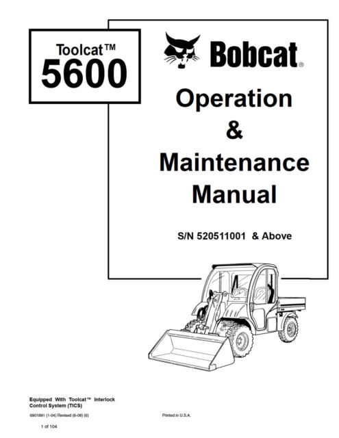 Bobcat Toolcat 5600 Utility Vehicle Operation Maintenance