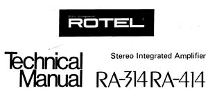 Rotel ra-314, ra-414 Schematic Diagram Service Manual