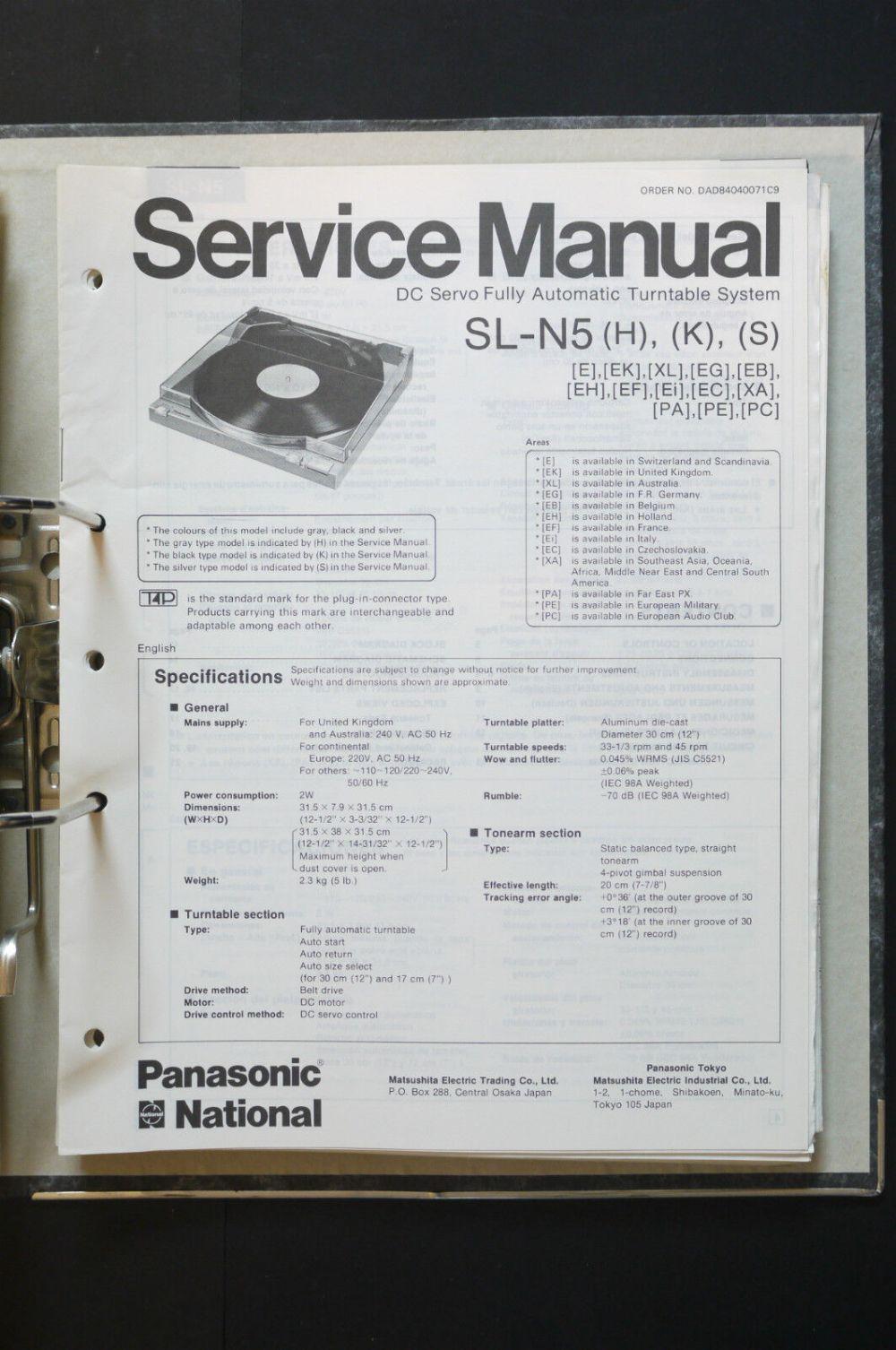 medium resolution of technics sl n5 original turntable turntable service manual wiring diagram