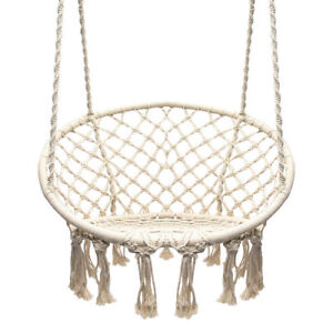 hanging chair ebay swivel rocking garden swing macrame outdoor cotton rope hammock indoor home round image is loading