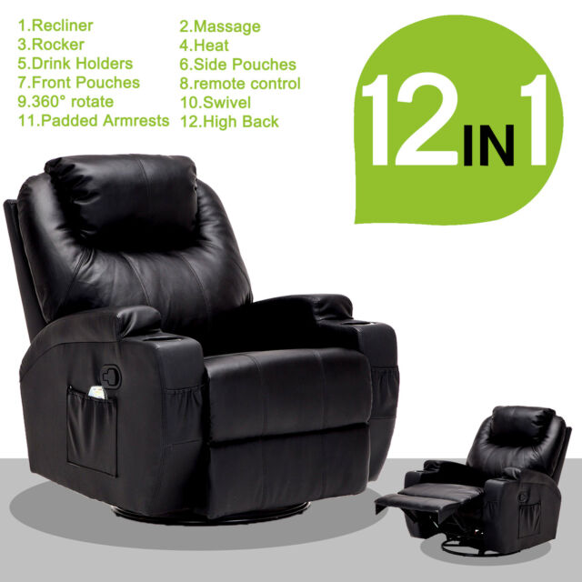 heated chair cover for recliner lowes patio buy massage sofa leather vibrating lounge with rc black
