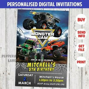 details about personalised monster jam trucks birthday invitation invite party magnet digital