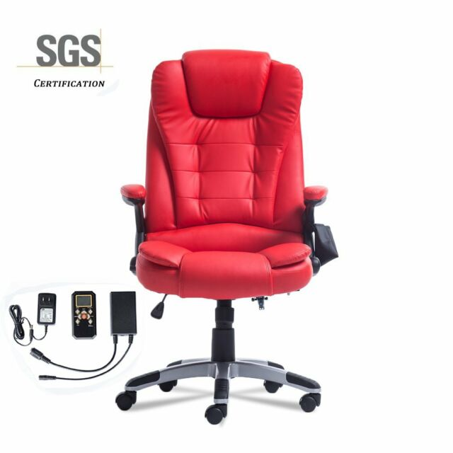 office chairs for people with bad backs orange wingback chair red executive heavy heated vibrating massaging new