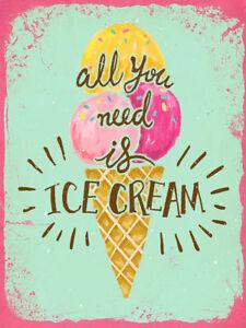ice cream metal signs