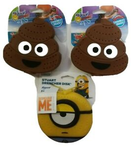 Lot of 3 NEW Splash Drencher Disks 2 Poop Emoji. 1 Stuart Squishy Pool Bath Toy   eBay