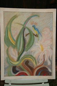 details sur peinture tableau pastel art deco voir signature
