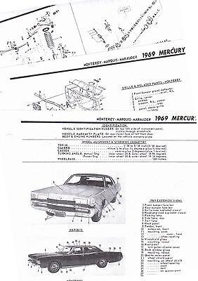 1969 MERCURY MONTEREY MARQUIS MARAUDER 69 PARTS LIST FRAME