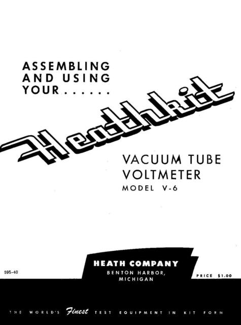 Assembly & Operation Manual Instructions For Heathkit V-6