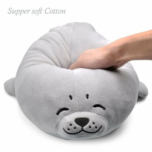 stuffed seal plush pillow soft giant big doll toy kid chair chest pets grey new other stuffed animals stuffed animals