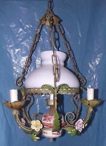 Lampada da soffitto o da parete piccola d.20 in ceramica decorata a mano e. Antico Elegante Lampadario Bronzo Opale E Rose In Ceramica Stile Liberty 4 Luci Ebay