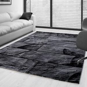 details sur a poils ras tapis salon design pierre mur aspect gris noir mouchete