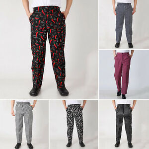 kitchen pants appliances brooklyn chef work restaurant uniform cook trousers elastic image is loading