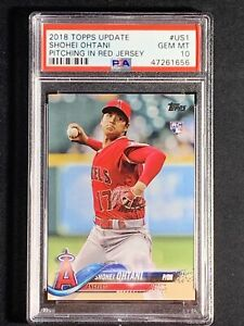 2018 Topps Update Shohei Ohtani PITCHING IN RED JERSEY RC ...