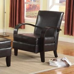 Roundhill Furniture Wonda Bonded Leather Accent Chair With Wood Arms White High Back Patio Covers Stock Photo