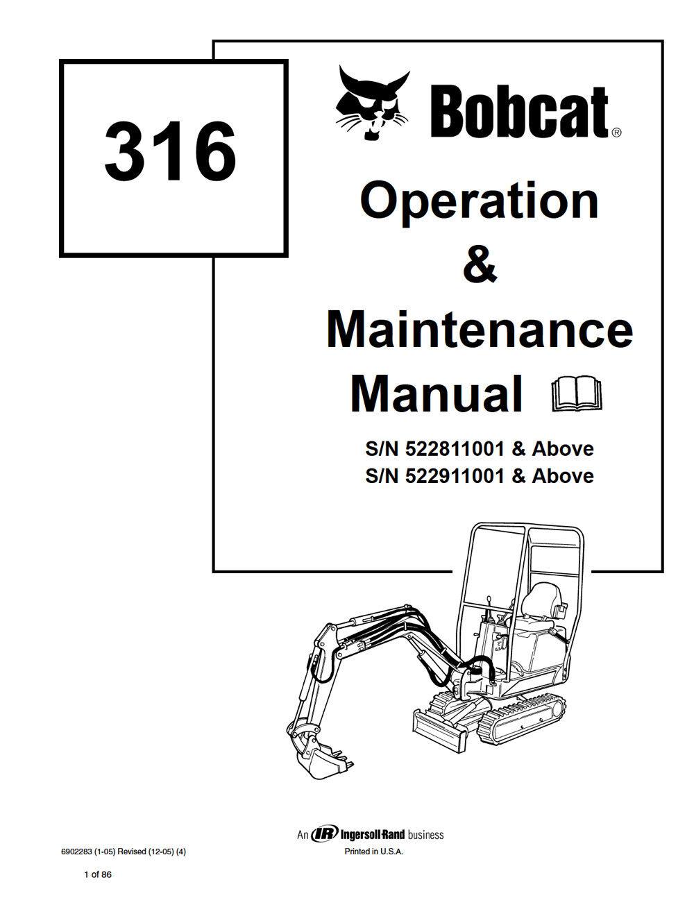 New Bobcat 316 Mini Excavator 2006 revision Repair Service