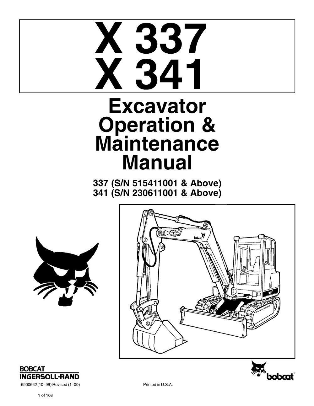 Bobcat X337 X341 Excavator 1997 Edition Repair Service