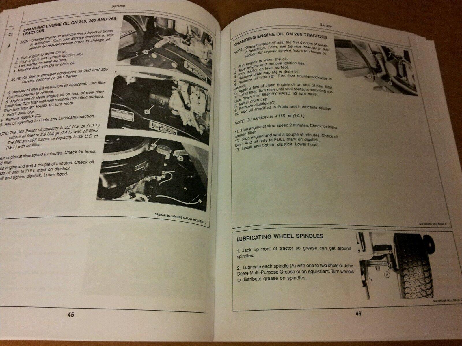 hight resolution of john deere 240 260 265 285 lawn garden tractors ops manual omm71197 issue h7 for sale online ebay