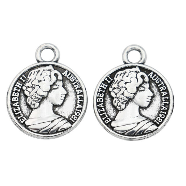 10pcs Antique Silver Elizabeth Charm Pendant Jewelry