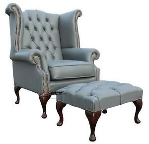 queen anne wingback chair leather high back dining chairs uk chesterfield wing silver grey image is loading