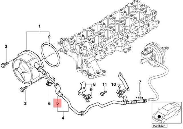 Genuine BMW E38 E39 E46 Sedan Wagon Vacuum Pump Tube Hose