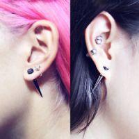 16g Ear fake tapers, tribal fake gauge, spike earrings