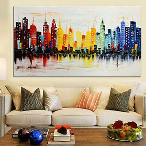 living room art wall paint ideas modern city canvas abstract painting print image is loading