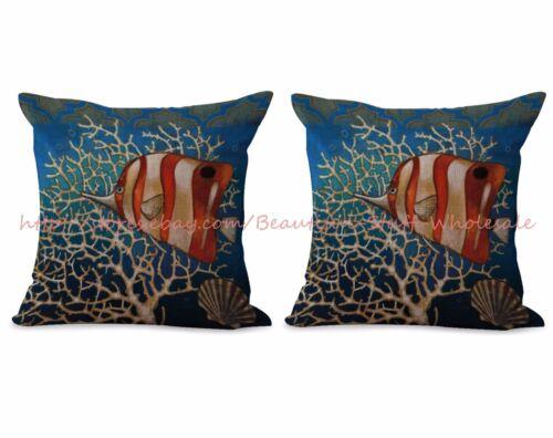 us seller set of 2 cheap pillow cases cushion cover nautical ocean fish home decor home decor pillows