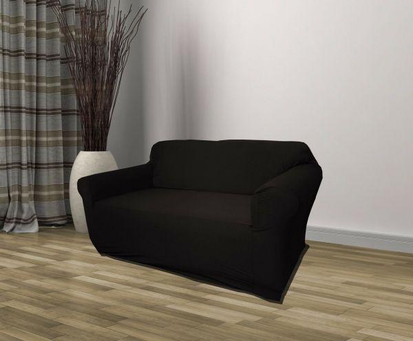 Black Jersey Sofa Stretch Slipcover Couch Cover Chair Loveseat Recliner
