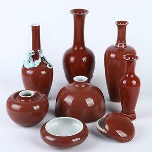 Antique Chinese Red Glaze Porcelain Box Pot Vase Set (8 pcs lot)