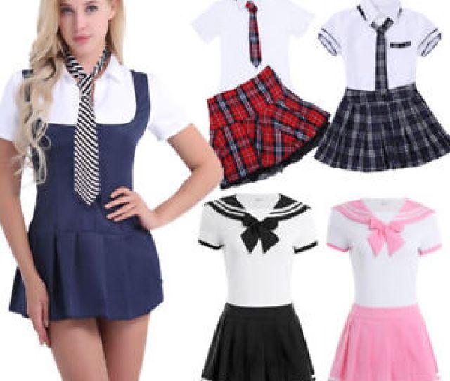 Sexy Women Schoolgirl Outfit Student Costume Uniform Fancy Dress
