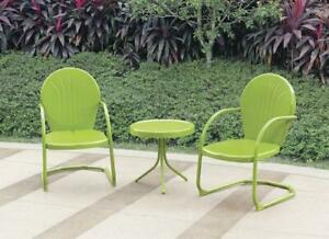 details about green metal vintage retro bistro set chairs side table outdoor furniture