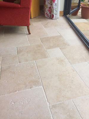 tumbled premium light ivory travertine floor tiles opus romano pattern ebay
