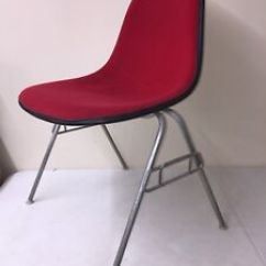 Herman Miller Chairs Vintage Chair Dance Eames Upholstered Red School Base Shell Mid Image Is Loading