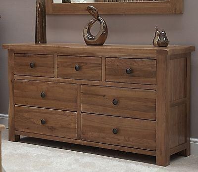 denver large wide chest of drawers solid rustic oak bedroom furniture ebay