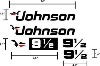 Johnson Outboard 9.5hp boat motor decals graphics. 5 piece