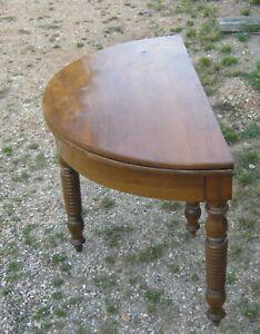 details sur ancienne table ronde demi lune plateau pliable console