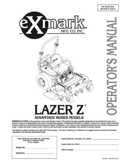eXmark Lazer Z AS Operators Manual & Part List Diagrams