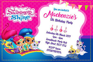 details about personalised shimmer and shine birthday party invites inc envelopes