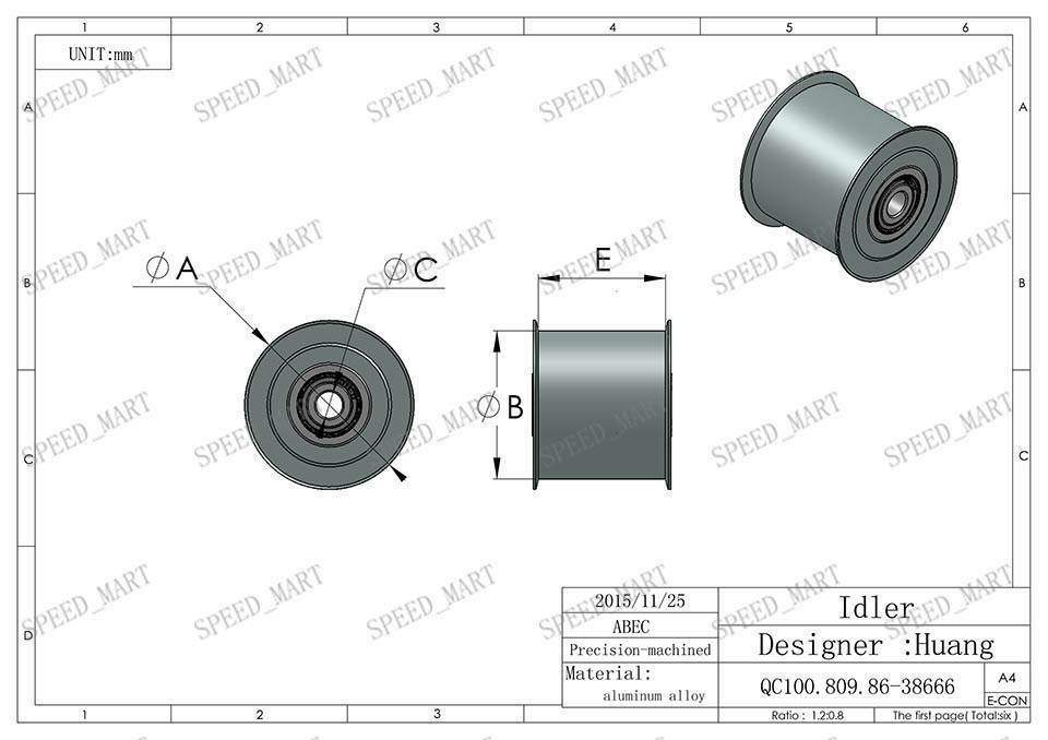Smooth Idler Pulley With Bore 4mm Bearing For wide 11mm XL