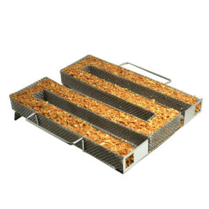 BBQ Apple Wood Chips Wood Pellet Tube Smoker for Cold/Hot Smoking Charcoal Grill   eBay