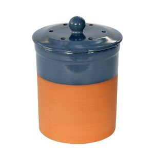 kitchen compost container inexpensive backsplash chetnole terracotta caddy blue ceramic image is loading