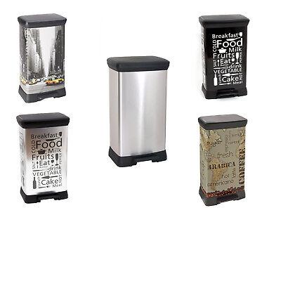 curver poubelle metallise avec pedale quatre motifs electromenager 50l cuisine ebay