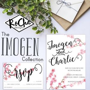 Details About Personalised Wedding Invitations Day Or Evening Cherry Blossom Tree Rsvp Suite