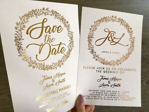 Details About Gold Rose Foil Personalised Wedding Invitations Save The Date Invites