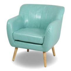 Mid Century Modern Leather Accent Chair Lightweight Portable Living Room Club Single Sofa Image Is Loading