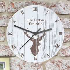 Wooden Kitchen Clock Complete Personalised Stags Head Large Wall New Home Image Is Loading