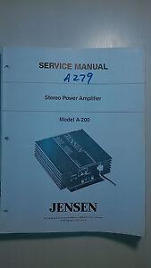 Car Amp Repair : repair, Jensen, A-200, Service, Manual, Original, Repair, Stereo, Radio, Amplifier