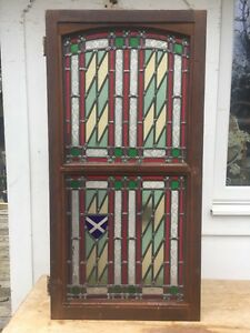 Stained Glass Front Door Side Panel Art Deco Period Window Reclaimed Leaded Old Ebay